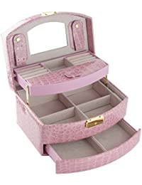 Feibrand Vintage Coffret Boîte à Bijoux Présentoirs Beauty Case avec Miroir Rose