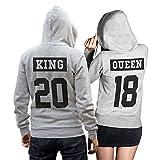 King Queen Pullover Pärchen Set invertiert - 2 Hoodies im Set - Pullover Pulli Liebe Love Pärchen Couple - Grau-Schwarz (King XL + Queen S)
