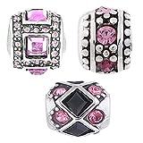 Beads Charms Elements für Armband Edelstahl Perle bettel Charms Bead Silber Original Swarovski Strass steine Kompatibel mit Pand viele modele und farben 3er Angebot Set Pink - Akki Pink 01