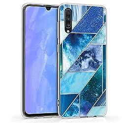 kwmobile Samsung Galaxy A70 Hülle - Handyhülle für Samsung Galaxy A70 - Handy Case in Glory Muster Deluxe Design Blau Türkis Silber