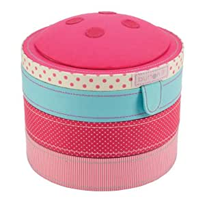 BUTTON IT- NEW FOR 2014 - Cute As A Button Swivelling Three Tied Multi Coloured Sewing Box with Contrast Lining.