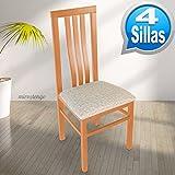 Pack 4 sillas Eko de madera maciza cerezo y tapizado arena. 102x45x45cm