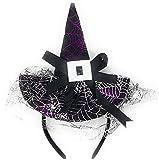 YLAB - Cappello da Strega, Fascia per Capelli, Nero e Viola - Cappello per Archetto di Halloween