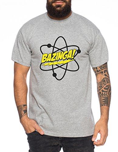 WhyKiki Big Bazinga Science Bang Theory Nerd Herren T-Shirt, Farbe:Dunkelgrau Meliert;Größe:4XL (T-shirt Bazinga)