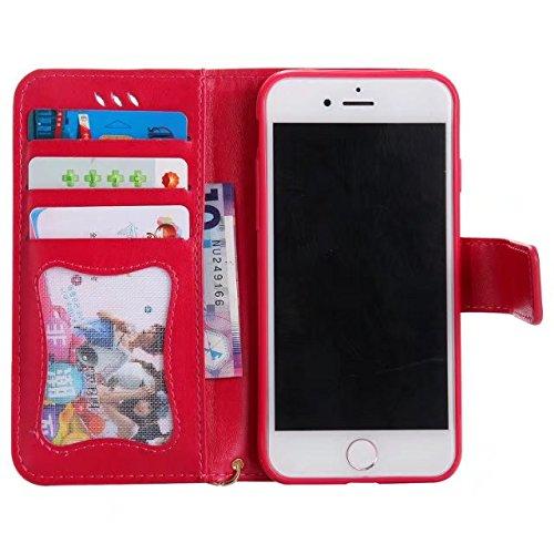 GR Für IPhone 7-Luminous Präge Fairy Girl & Cat Muster Ledertasche, Folio Flip Stand Brieftasche Pouch Case Cover mit Lanyard & Kartensteckplätze & Bilderrahmen ( Color : Blue ) Rose-red