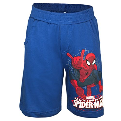 Superhelden 2017 Kostüm Film (Jungen SOMMER-SHORT original Marvel´s Ultimate SPIDER-MAN aus Baumwolle, Kollektion 2017 in blau, GRÖSSE 104-140, Kurze Hose für kleine Super-Helden, ideal für den SOMMER Size)
