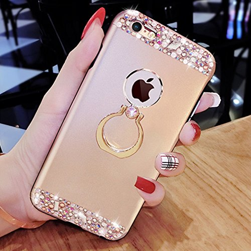 iPhone 7 Custodia, iPhone 7 Cover, iPhone 7 4.7 Custodia Silicone, JAWSEU Moda Stile Lusso Cristallo di Bling Brillante Sparkle Glitter Custodia per iPhone 7 Back Cover Case Ultra Sottile Flessibile G Metallo Oro