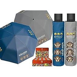 PERLETTI perletti7505454x 8cm Mini 3Secciones Impreso Emoji Paraguas a Prueba de Viento con Pantalla Caja