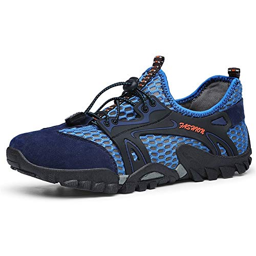 Watermelon Sommersport Sandalen Elastisches Seil Spitze Mesh Schuhe Wasserschuhe Leichte atmungsaktive Schuhe (Color : Blau, Größe : 45 EU) -