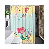 Knbob Duschvorhänge Meerjungfrauen Stil 1 Shower Curtain 180X180CM Inkl. Ringe Badezimmer Vorhänge