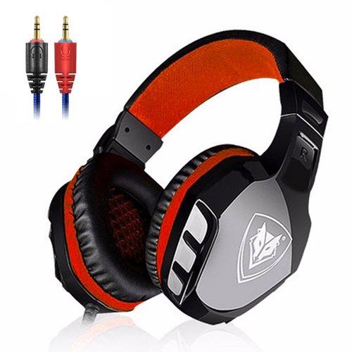 Spiel Kopfhörer, MMHDZ Professionelle 3,5-mm-Bass-Stereo-Headset isoliert Headset LED-Beleuchtung Noise Cancelling Mikrofon Konfiguration Xbox / PC / Mac / Smartphone / Tablets / Windows (schwarz-rot)