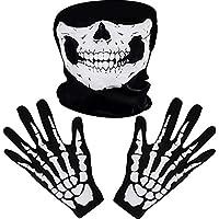 White Skeleton Gloves and Skull Face Mask Ghost Bones for Adult Halloween Dance Costume Party (1)