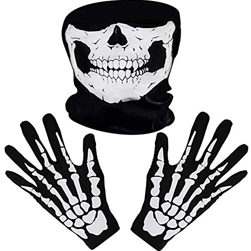 Weiße Skelett Handschuhe und Schädel Gesichtsmaske Geist Knochen für Erwachsene Halloween Tanzen Kostüm Party (1 Set)