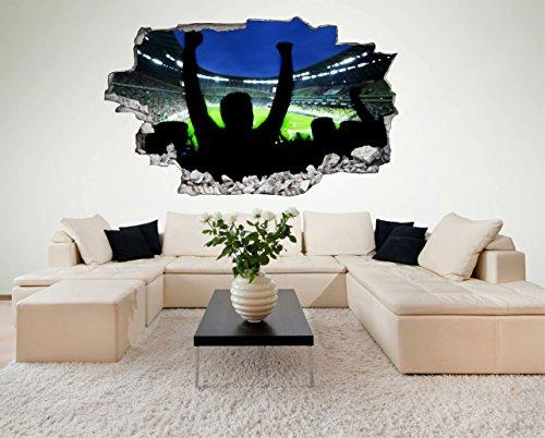 Fussball Stadion Fans 3D Look Wandtattoo 70 x 115 cm Wanddurchbruch Wandbild Sticker Aufkleber DesFoli © C414