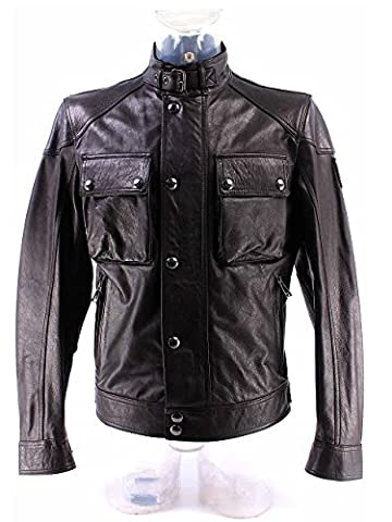Men's Jacket BELSTAFF 71020192 Racemaster Blou Black Leather New Collection