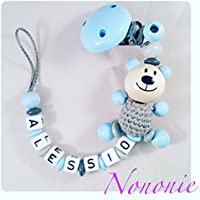 Schnullerkette mit NAMEN - 3D TEDDY - babyblau, hellgrau, grau