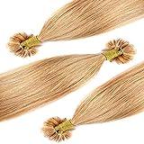 Extensions Echthaar Bondings Haarverlängerung U-Tip 100 Strähnen per Echthaarsträhne 0,5g 50cm(#27 Dunkelblond)