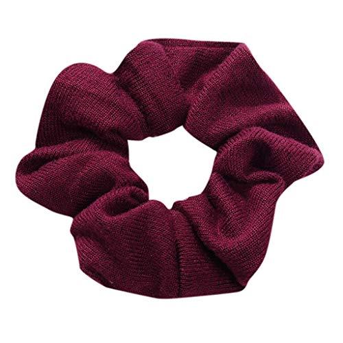 Dorical Haarband Zubehör für Frauen Mädchen Damen Elegante Elastische Einfarbig Haarbänder Vintage Schachtelhalm Halter Seil Haarschmuck Ausverkauf(Rot)