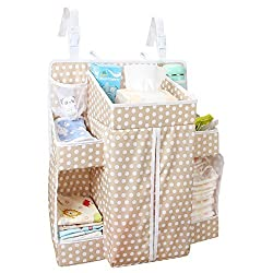 Biubee Baby Diaper Organizer-17.3x 20.5x 7.1 Changing Table Hanging Organization Diaper Caddy Storage for Nursery Essentials(light brown)