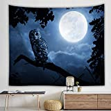Morbuy Kreativ Tapisserie, 150 x 200cm Dekor Wandteppich Tapestry Eule Motiv Wandbehang aus Polyster Wandtuch Tischdecke Meditation Strandtuch Yogamatte (Groß (150 x 200cm), Eule unter Dem Mond)