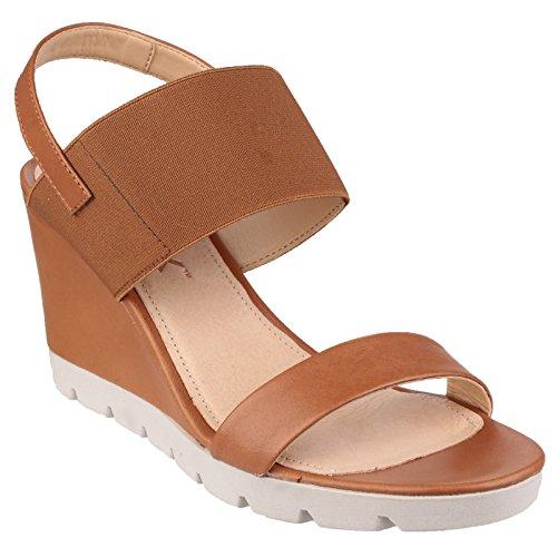The Flexx Damen Elastische Sandalen mit hohem Keilabsatz Corda