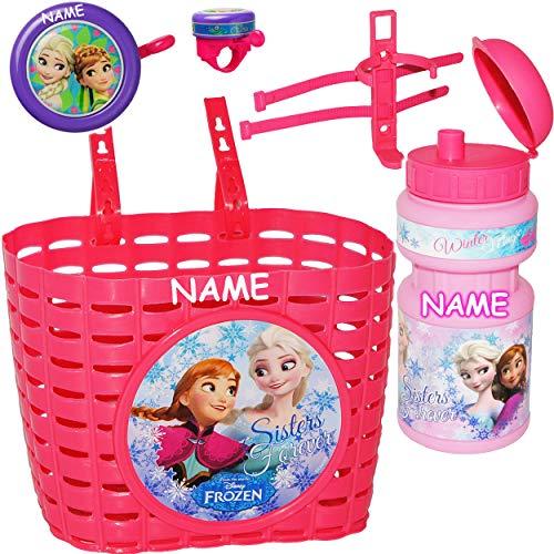 alles-meine.de GmbH 3 TLG. Set: Fahrradklingel + Fahrradkorb + Fahrradtrinkflasche - Disney die Eiskönigin - Frozen - inkl. Name - Lenkerkorb vorne / Kinderfahrradkorb - Ding Don.. (Kinder Fahrrad Korb Vorn)