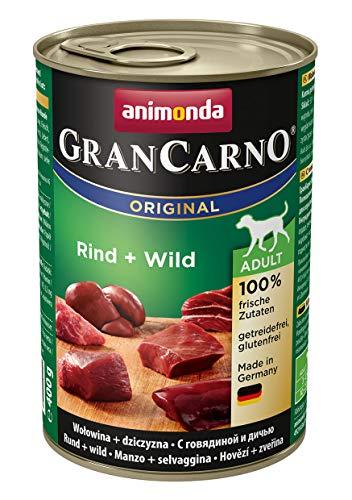 animonda GranCarno Hundefutter, Nassfutter für erwachsene Hunde, verschiedene Sorten, Rind + Wild, 6 x 400 g