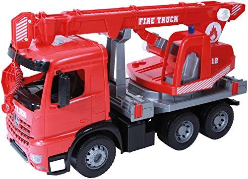 feuerwehrkran spielzeug Lena 02175 - Starke Riesen Feuerwehr Kranwagen Mercedes Benz Arocs, rot, ca. 70 cm, Kranauto mit 3 Achsen, großes Spielfahrzeug für Kinder ab 3 Jahre, robuster Feuerwehrkran mit Seilwinde bis 1,05 m