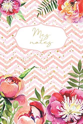 Mes notes: carnet de notes à pois - pleine conscience - carnet de gratitude - journal pour l'idées - fleurs- 120 pages - 6x 9 inch - - De Blatt Fleur