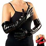 Lack Handschuhe schwarz Lange Damenhandschuhe über Ellenbogen Lackhandschuhe Fasching Teufelin Vampirin Hexe Kunstlederhandschuhe Halloween Brauthandschuhe Gothic Mottoparty Accessoire Karneval
