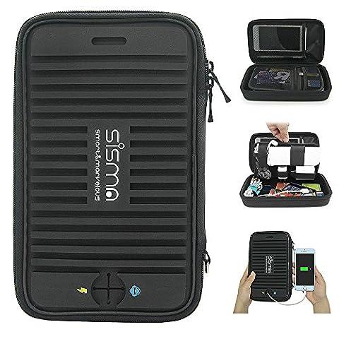 Sisma Organisateur Chargeur/Câbles Voyage pour Téléphone Portable et Accessoires, Sac de Rangement pour PowerBank, Cables, Écouteurs, Chargeurs, Disques Durs, USB-clé, Cartes SD/microSD et Autre Petite Électronique, Sortie Charge/Audio