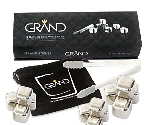 Grand Whisky Steine Von Grand - 12 wiederverwendbare Edelstahl-Eiswürfel und 1 Eiszange