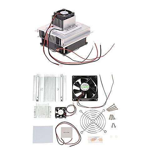 KKmoon DIY Thermoelektrischer Peltier Kühlung-Kühlsystem-Installationssatz Semiconductor Kühlvorrichtung-Leitungs-Modul + Heizkörper + Kühlventilator + (Heizkörper Isolierung)