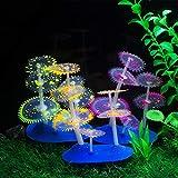 Uotyle Coral - Set di 3 pianta Artificiali in Silicone per Acquario, per Serbatoi di Pesci