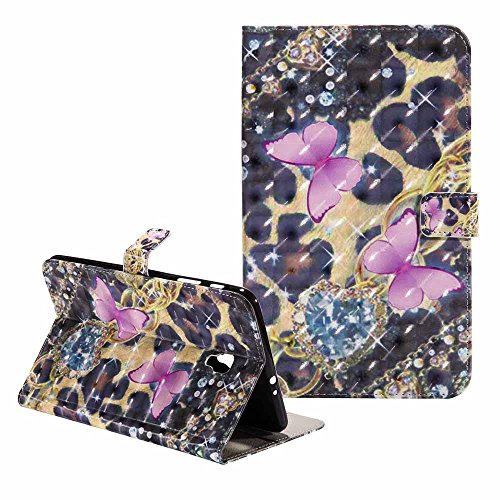 Galaxy Tab A 8.0 Hülle-Billion Ultra Slim Bling Bunte Glitter Malerei 3D Muster PU-Leder Flip Brieftasche Cover Stand Schutzhülle für Samsung Galaxy Tab A 8.0 Zoll SM - T385 (Rosa Schmetterling) (Tablet Samsung 4 8-zoll-fall)