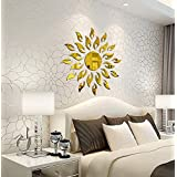 Bikri Kendra® - Sun Golden - 3D Acrylic Decorative Mirror Wall Sticker