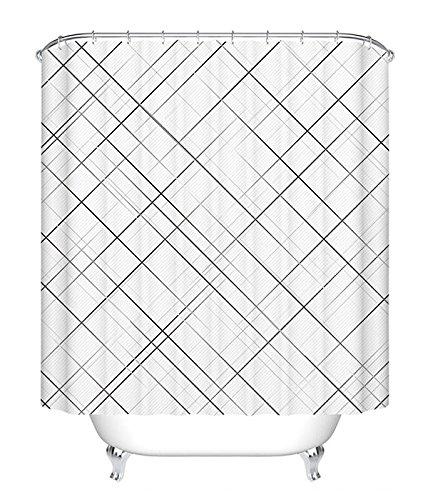 Ohcde Dheark Badezimmer Duschvorhang Wasserdicht, Verdicken, Einfache, Japanische Plaid, Nordische Badewanne Vorhang, Wc Duschvorhang, Weißen Vorhang, Vorhang, W 150 Cm X H 200 Cm (Vorhänge Plaid)