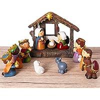 Belén magnífico de resina Unomor para decoración de navidad. Estable con figuras móviles: María, José, los Reyes Magos, Oveja, Asno, Camello. 12 unidades.