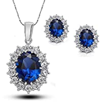 Gespout Crystal Necklace Earring Set Gem Necklace Ear Stud Set Diamond Jewelry Set Charming Pendant Jewellery for Prom Wedding Performance (Blue)