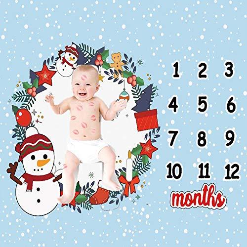 Schneemann Baby Meilenstein Decke (senden Sie 2 Sätze Von Bilderrahmen), Diligencer Neugeborenen Monatlichen Meilenstein Decke Mädchen Junge Größe 100