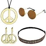Auidy_6TXD - Juego de 4 piezas de disfraz hippie, incluye gafas de sol, collar con...