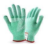 iBaste Schnittfeste Handschuhe Level 5 Arbeitshandschuhe Sicherheit Handschuhe Atmungsaktiv Anti-Schnitthandschuhe für Küche Garten Kochen-Grün-S