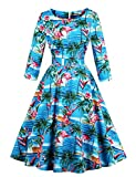 Caissen Damen 1950er Langarm Retro Vintage Rockabilly Geblümt Gedruckt Swing Kleid Party Cocktailkleid mit Gürtel Flamingo Größe XXL