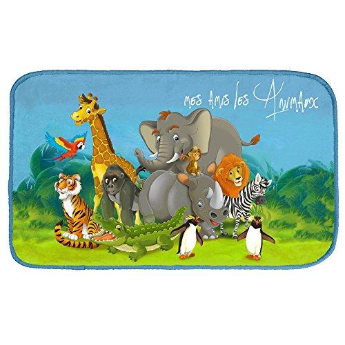 Kamaca Zoo - Party - Teppich 45 cm x 75 cm mit Elefant Löwe Tiger Giraffe und Pinguin - wunderschöner Teppich fürs Kinderzimmer Kinderteppich