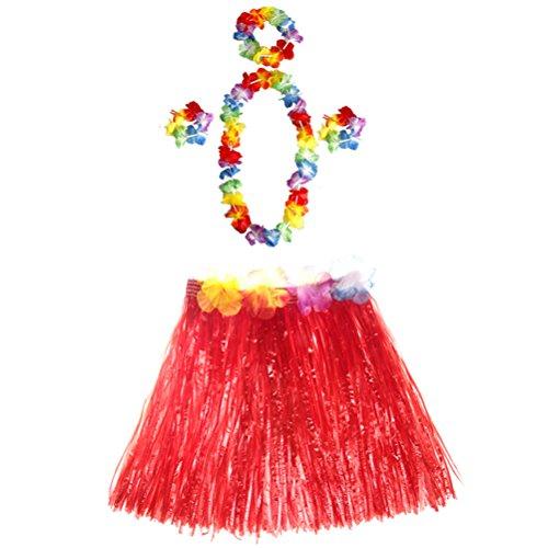STOBOK 5 sätze Hawaii Party Tropische Hula Gras Dance Rock Blume armbänder Stirnband Halskette Set 40 cm (roten Rock)
