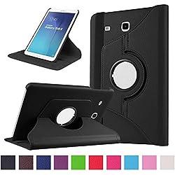 Galaxy Tab E 9.6 Housse - 360°Rotation Housse en cuir pour Samsung Galaxy Tab E 9.6 Pouces SM-T560 / T561 Tablette Coque Housse de Protection Etui Smart Cover Case avec rabat/stand de positionnement Support (Noir)