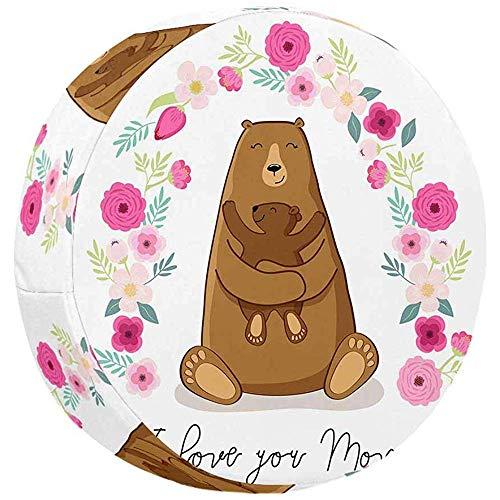 Olive Croft Niedlicher Cartoon-Bär mit seinem Baby, Muttertagskarte wasserdichte, staubdichte Reserverad-Reifenabdeckung aus Nylongewebe 14-17inch