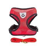 WENXX Hundegeschirr Reflektierend Air Mesh Einstellbare Easy Walk Deluxe Hundegeschirr Rot,S
