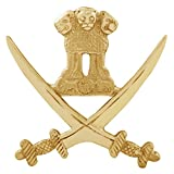 Autofy Brass Cross Sword National Emblem Decal Badge for All Bikes (Gold)
