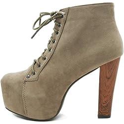 Kayla Shoes© Plateau Stiefeletten mit Absatz in Holz Optik (40, Khaki)